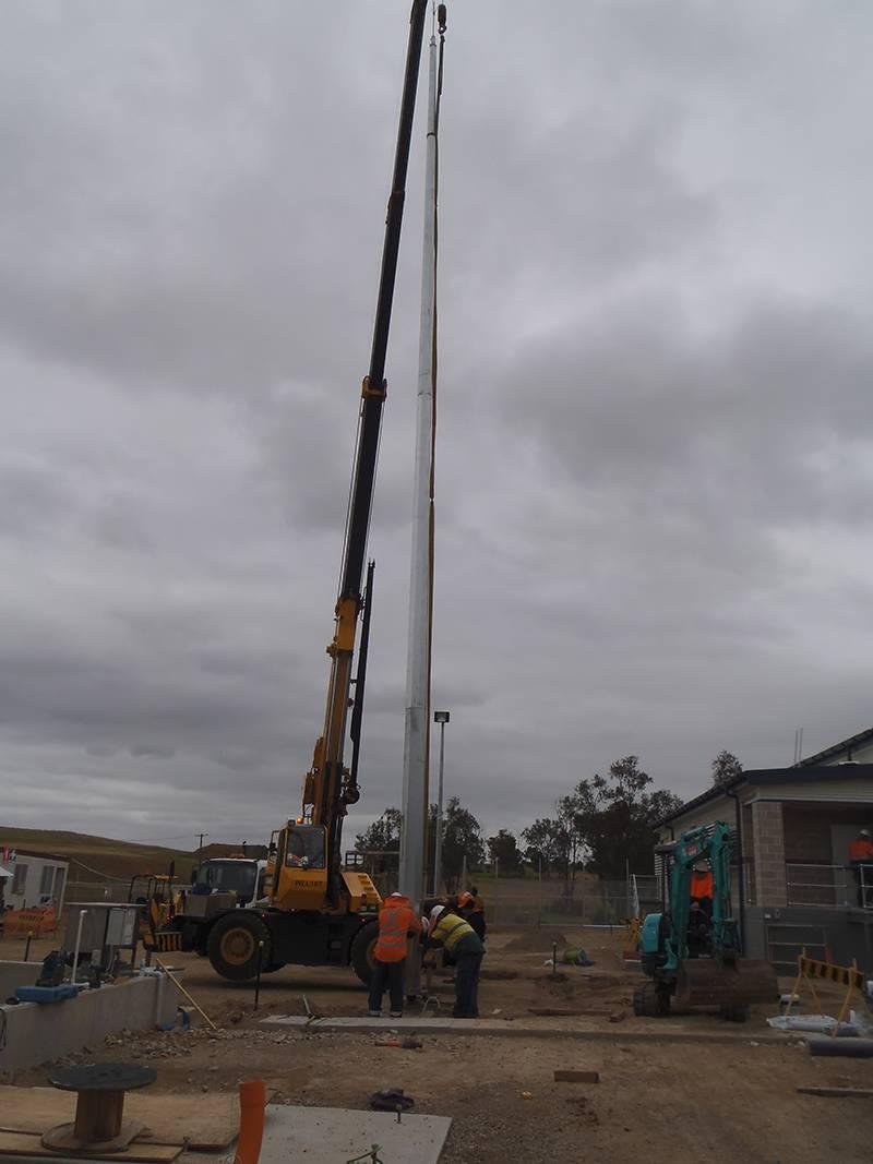 positioning 30m lightning mast